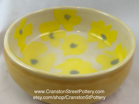 Yellow Flower Bowl-Yellow Flowers-Yellow and Gray-Hand Made Pottery-Home Decor-Dining and Serving