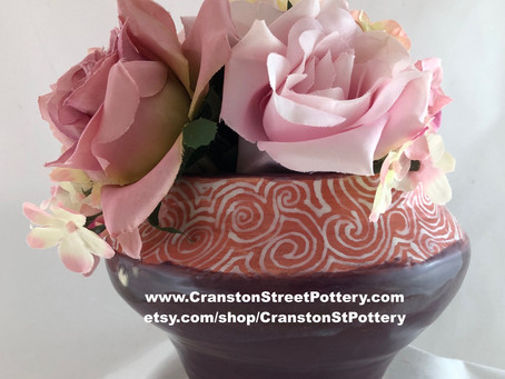 Indoor Mulberry Planter or Vase with Pink and White Trim