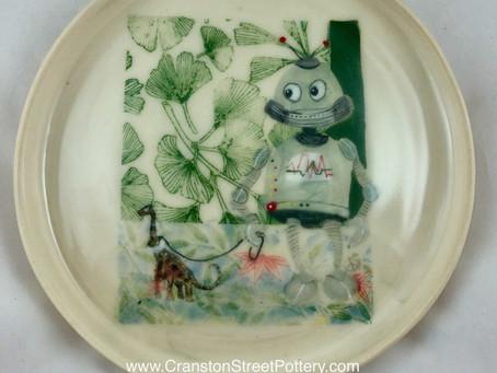 Robot and Pet Dinosaur Waiting Platter-Robot Art-Dinosaur Art-Dinosaur Platter-Robot Platter-Ginkgo