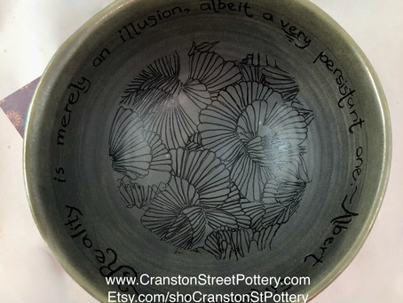 Albert Einstein Reality Bowl-Einstein Quote Bowl-Brownish Green Bowl-Wheel Thrown Bowl