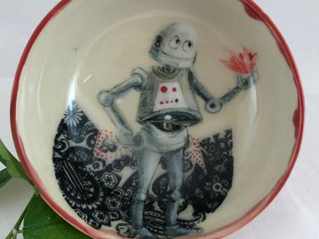 Robot Holding A Pink Flower-Robot Bowl-Pink Flower Bowl-Handmade Pottery-Gift Idea