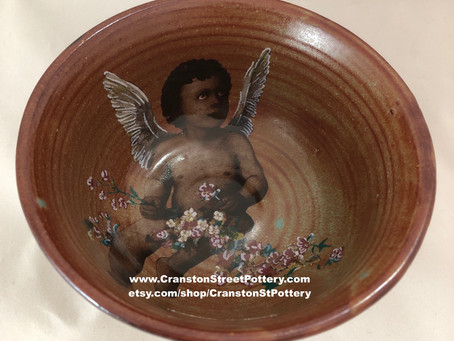 Cupid with Flowers Bowl