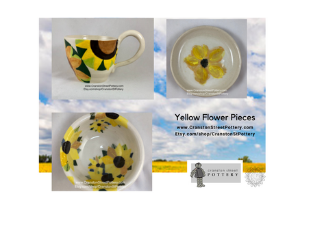 Yellow Flower Pieces-Mix and Match-Bohemanian Eclectic Home Decor-Pottery