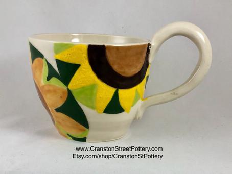 Yellow Flower Mug-Mug-Yellow-Yellow Flowers-Sunflower Mug-Large Mug-Soup Mug-Sunflowers-Coffee Mug