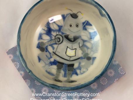 Robot in a Blue Garden-Robot Art-Robot Bowl-Blue Bowl-Wheel Thrown Bowl-Gift Idea-Robot Art-Cutie