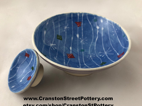 Holiday Wrapping Bowls--Blue Bowls-Matching Bowls-Wrapping Paper Inspired-Porcelain Bowls-Ceramic