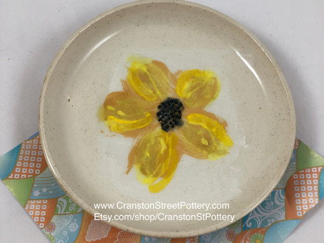 Mother's Day Gift-Yellow Ceramic Plate D-Yellow Flower Series-Yellow Flowers