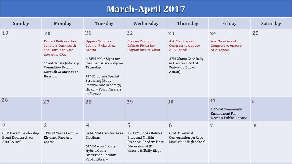 Schedule of Events for March 20-April 6, 2017