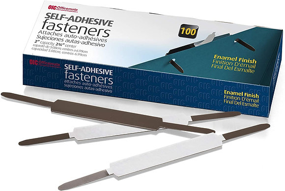 Adhesive prong fasteners