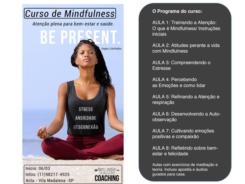 Curso de Mindfulness, Atenção Plena para bem-estar e saúde