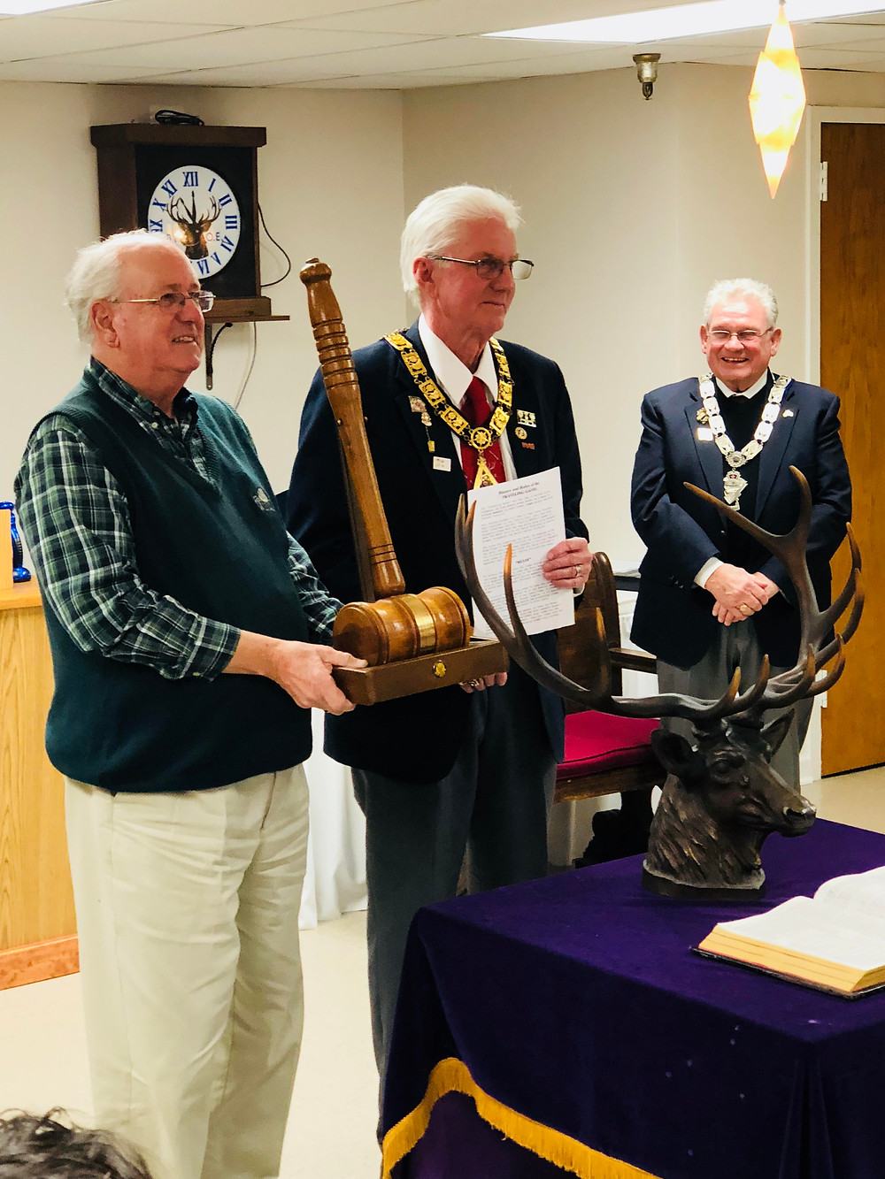Picture: Broadneck Elks Founder and Past ER, Don Smith, captures the North Central District Elks Traveling Gavel from Glen Burnie ER, Rick Lawton.
