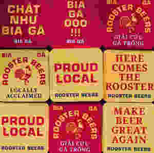 Rooster Beers (Bia Gà) coasters reinforce their brand identity.