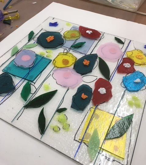 fused glass bowsl and platters