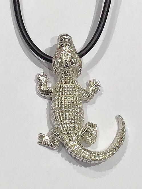 Sterling Silver Crocodile Pendant