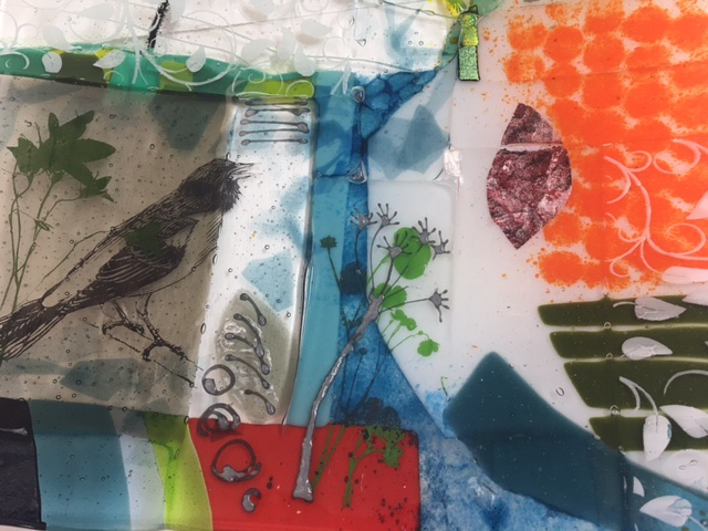 Surface, stenciling Fused Glass