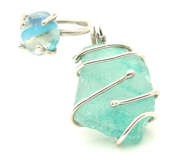 Sea glass and silver