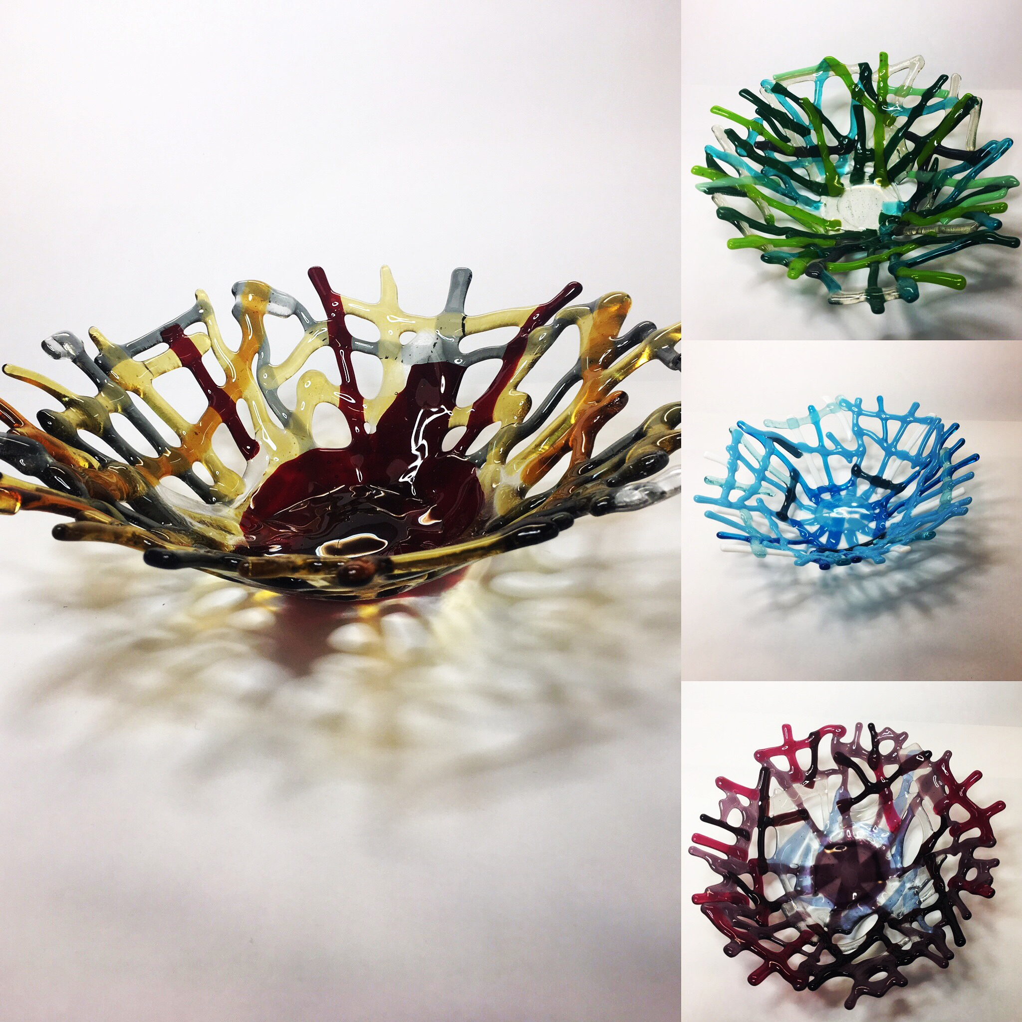 Collection of fused glass bowls