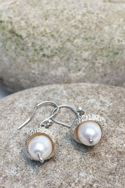 Sterling Silver Cast Acorn Earrings