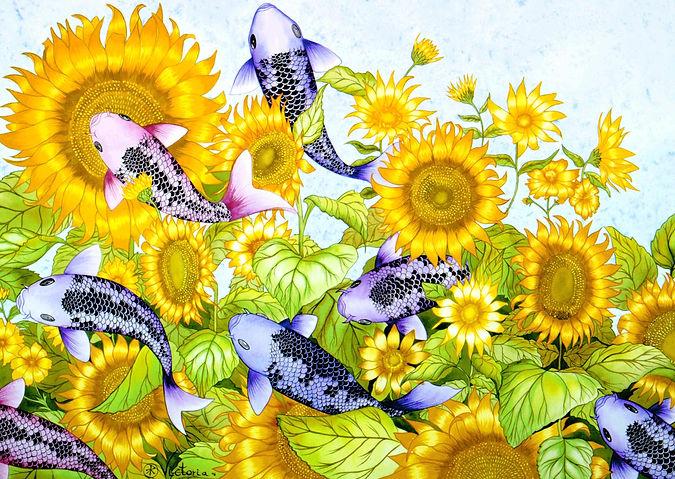 Sunflowers & Koi 2.jpg
