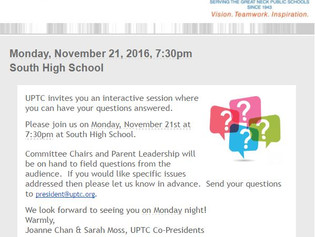 Please join us on Monday, 11/21/16 at 7:30pm at South High School