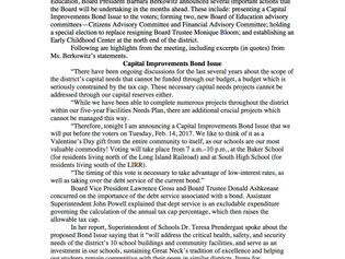 Board Announces Bond Issue and More