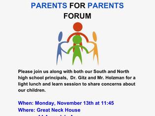 11/13 Parent to Parent Forum