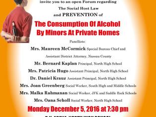 Social Host Law this Monday Dec 5