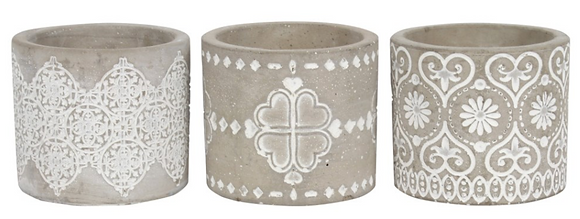 Set Of 3 Grey Pattern Candle Holders