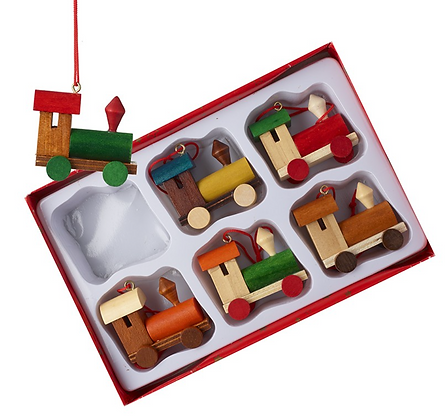 Set Of Hanging Wooden Toy Trains