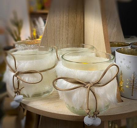Glass Jar With Fur Trim & Bells