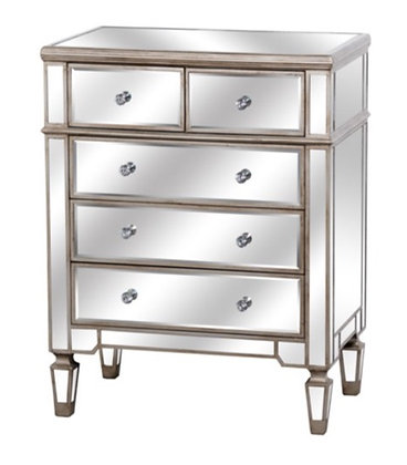 The Belvedere Collection 100cm Mirrored Two Over Three Chest Of Drawers