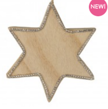 Wooden Hanging Star With Glitter Edge