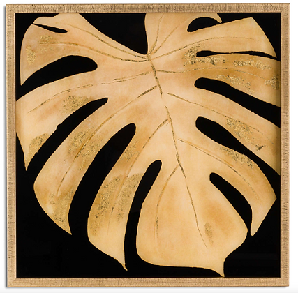 MetallicPlant Leaf Glass Image In Gold Frame