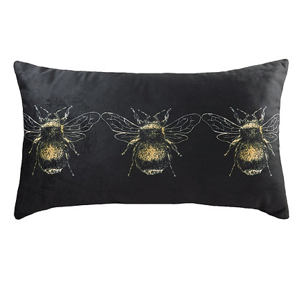 Gold Bee On Black Cushion Filled 30x50cm