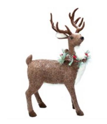 Plush Reindeer With Fir Wreath