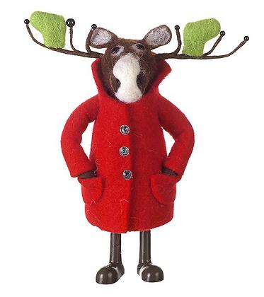 Standing Moose In Red Coat