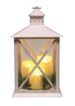 40cm Three Candle White Lantern