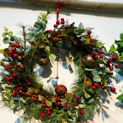 Green Foliage & Red Berry Wreath With Bells