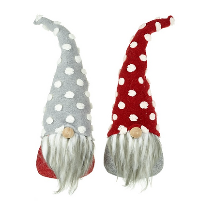 Set Of 2 Small Grey & Red Standing Gonks