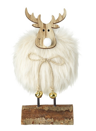 Fluffy White Deer On Wooden Stand