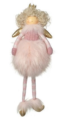 Hanging Pink Fluffy Angel With Gold Wings
