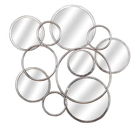 Silver Circular Abstract Mirrored Wall Art