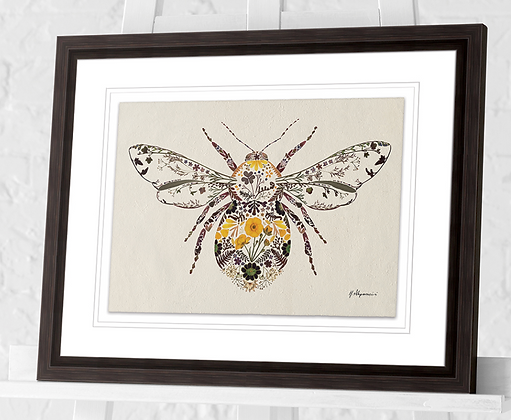 40x30cm  Buttercup Bumble Bee Framed Print