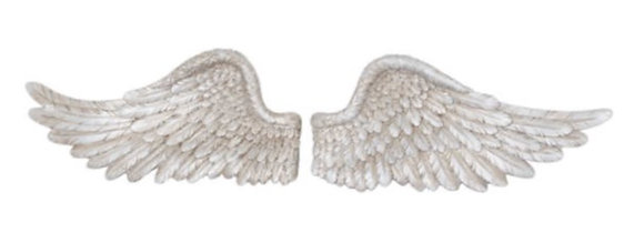 Antique Silver Horizontal Angel Wings