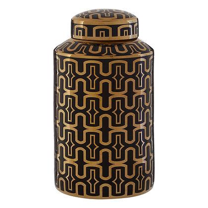 Small BlackGold Ceramic Jar