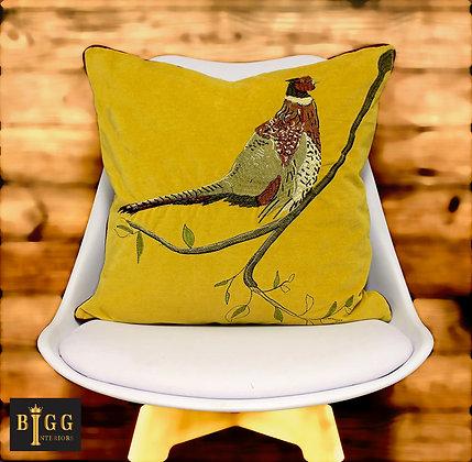 45cm Pheasant Mustard Cushion