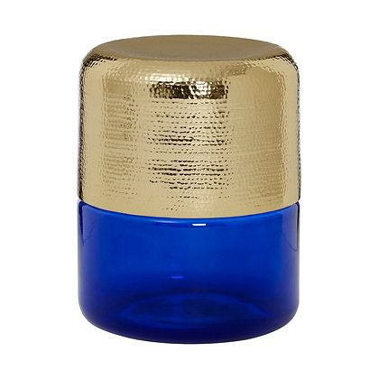 Margot Side Table - Hammered Gold & Blue Glass