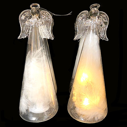 Lit Glass Angel With Feathers