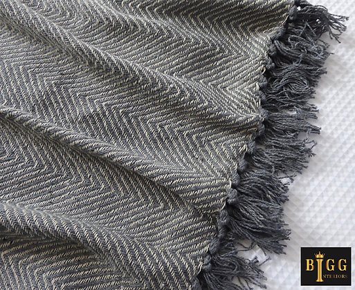 Light Grey Chevron Knitted Throw