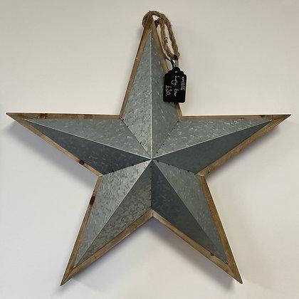 Large Metal & Wood Hanging Star 60cm
